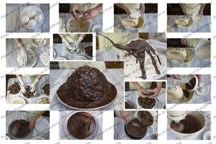 The process of making a chocolate cake. example image 1
