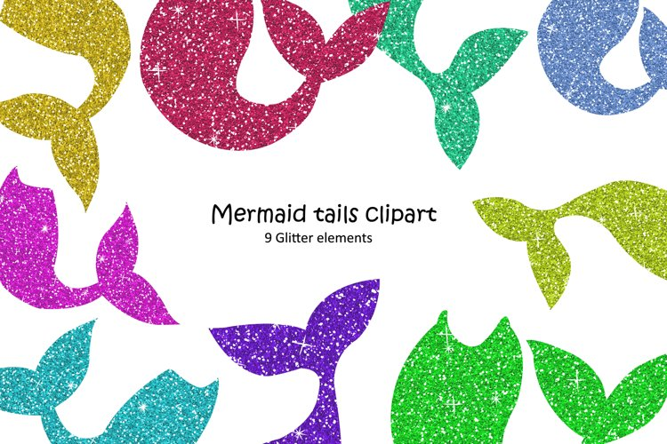 Mermaid Tail Clipart. Glitter Elements example image 1