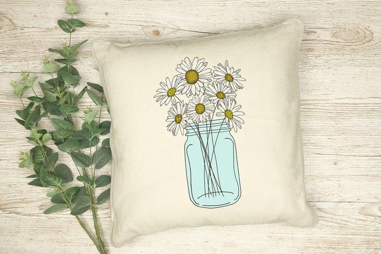 Summer Mason Jar of Daisy Flowers Floral Sublimation Design
