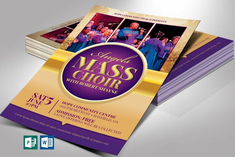 Mass Choir Concert Flyer Word Publisher Template example image 1