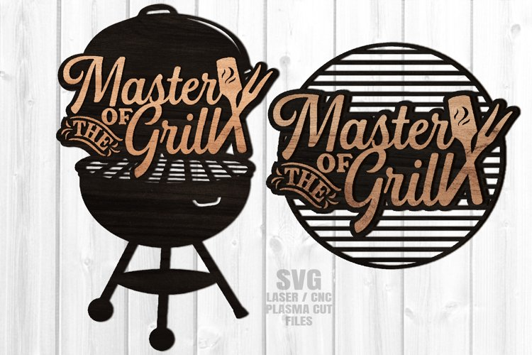 Master Of The Grill BBQ Sign SVG Glowforge Files Bundle example image 1