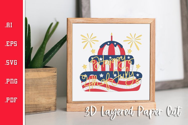 Happy 4th of July Cake- 3D Layered Paper Cut SVG