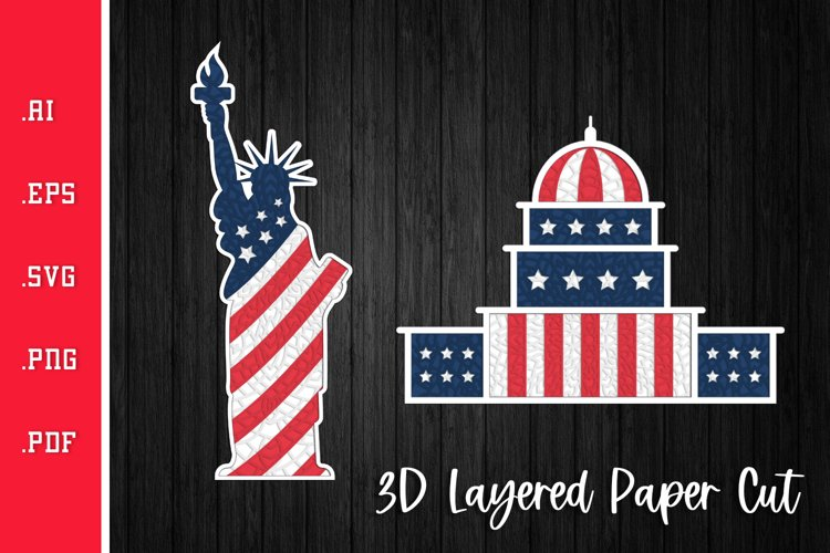 Statue of Liberty and the Capitol - 3D Layered SVG