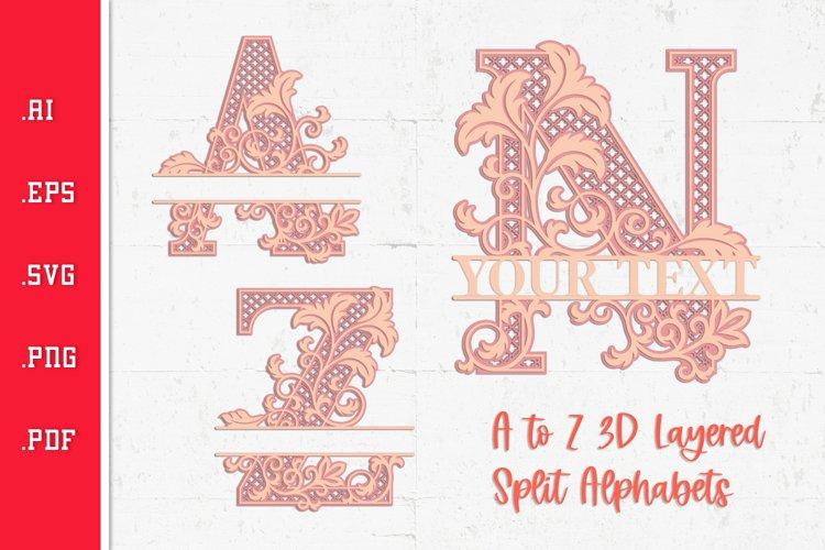 Floral 3D Layered Split Alphabet