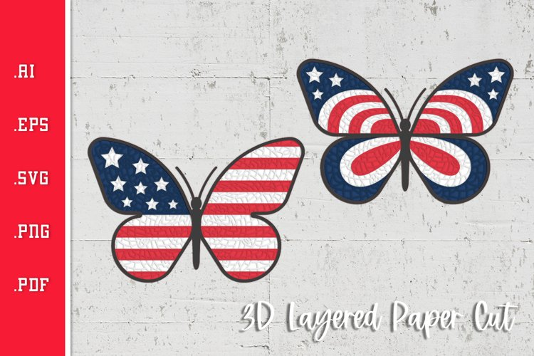 Butterfly USA Flag Pattern - 3D Layered Paper Cut SVG