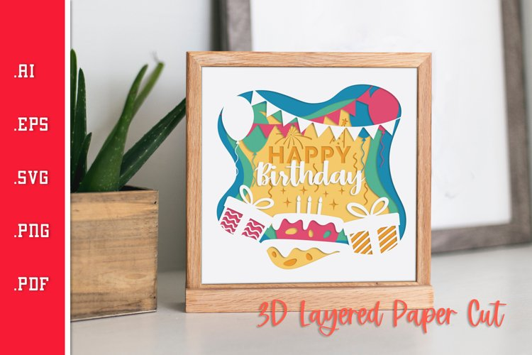 Birthday Vibes - 3D Layered Paper Cut SVG