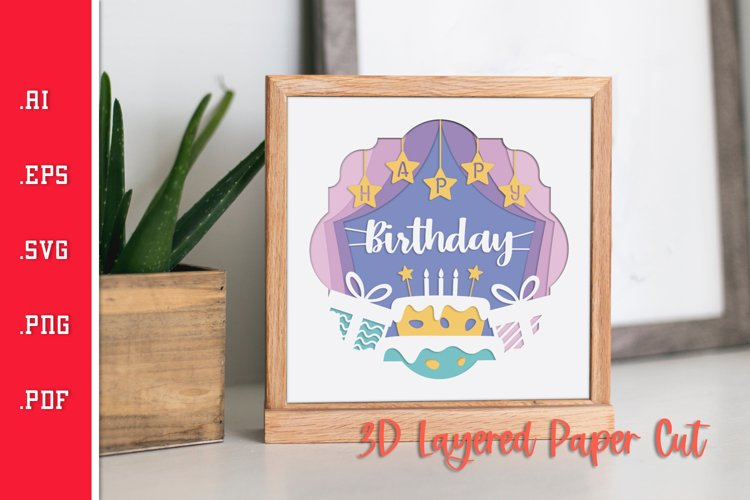 Birthday Stage - 3D Layered Paper Cut SVG