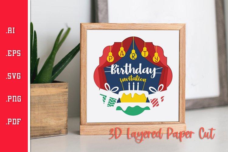 Birthday Invitation - 3D Layered Paper Cut SVG