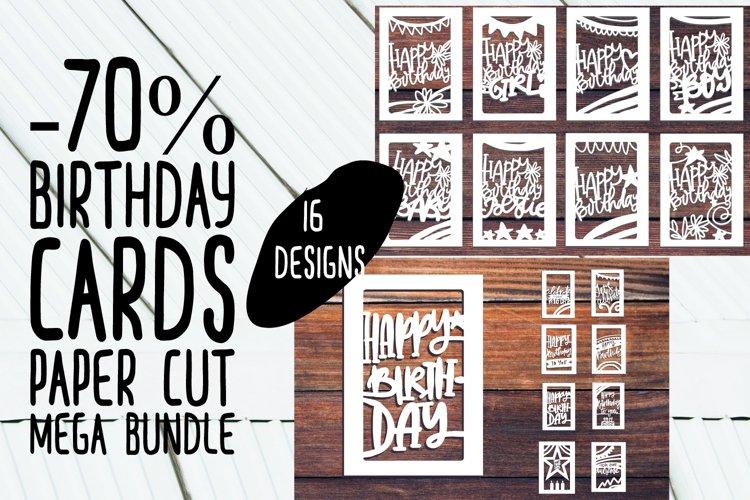 Happy birthday MEGA bundle. Paper cut files
