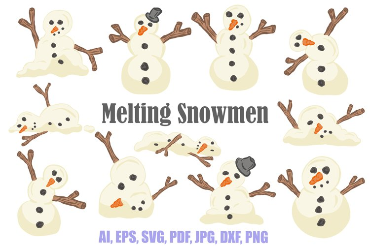 Melting Snowmen Collection Make Your Own Christmas Cartoon example image 1