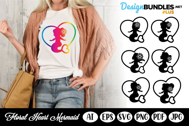 Little Mermaids in Hearts with Heart Tail SVG