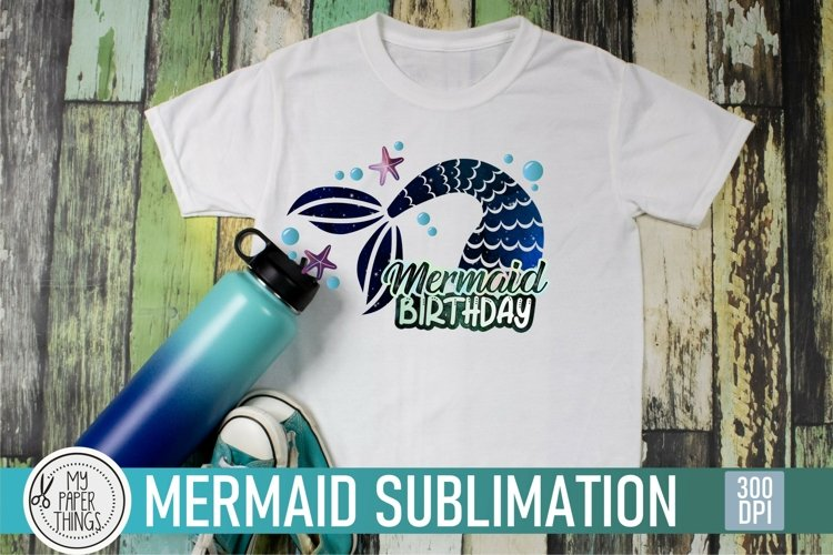 Mermaid-themed girl's birthday party PNG sublimation image  designed for printing on t-shirts, mugs and other items.