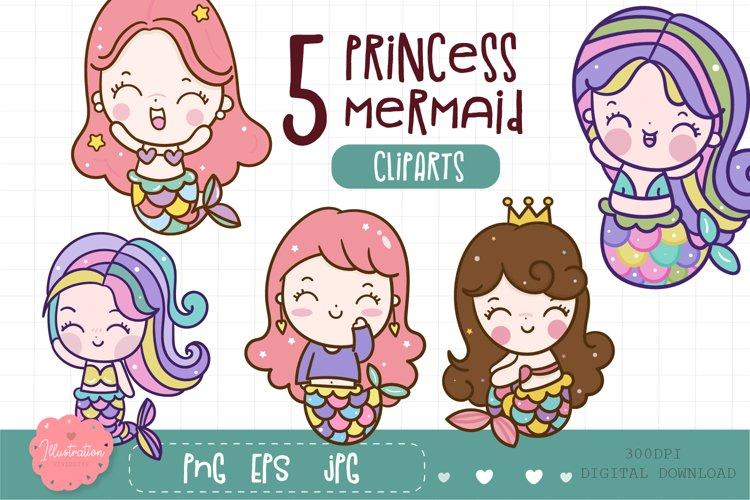 Cute mermaid clipart kawaii illustration digital printable