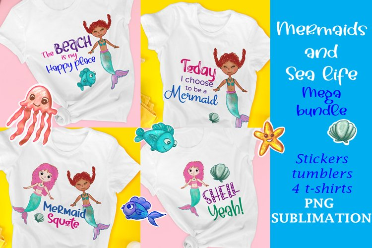 Mermaids and Sea life Bundle, t-shirts, stickers PNG