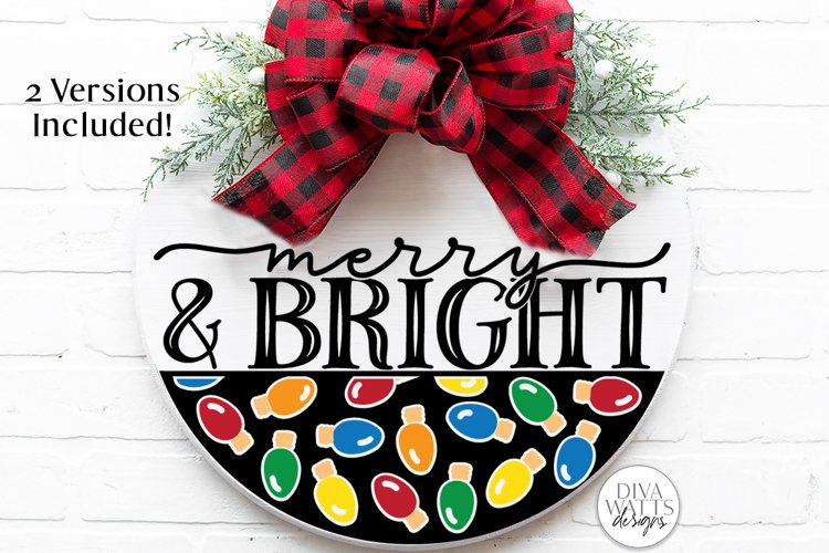 Merry And Bright   Christmas Lights Door Hanger Design example image 1