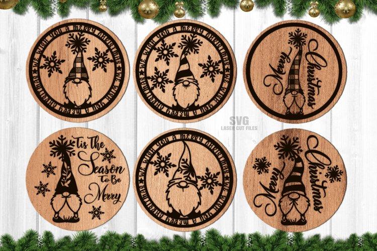 Merry Christmas Gnome Coaster Set SVG Glowforge Files example image 1
