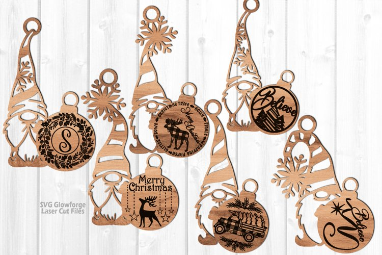 Merry Christmas Gnome Ornament SVG Glowforge Laser Files example image 1