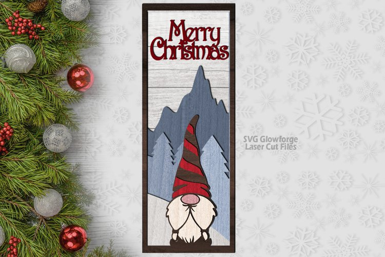 Merry Christmas Gnome Sign SVG Glowforge Laser Files example image 1