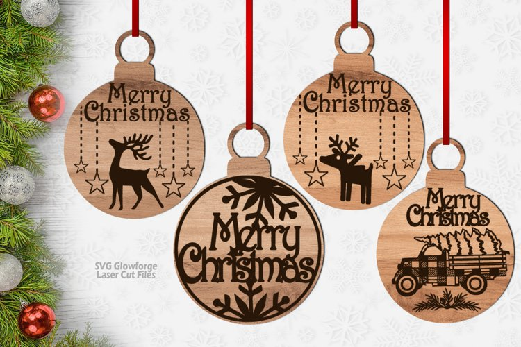 Merry Christmas Ornament SVG Glowforge Laser Files Bundle example image 1