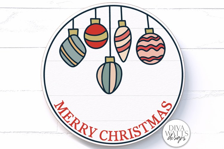 Merry Christmas Vintage Ornaments SVG | Round Sign Design example image 1