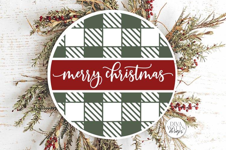 Merry Christmas Buffalo Plaid Round SVG | Winter Design example image 1