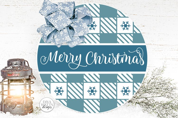 Merry Christmas Plaid Pattern SVG | Round Winter Welcome example image 1