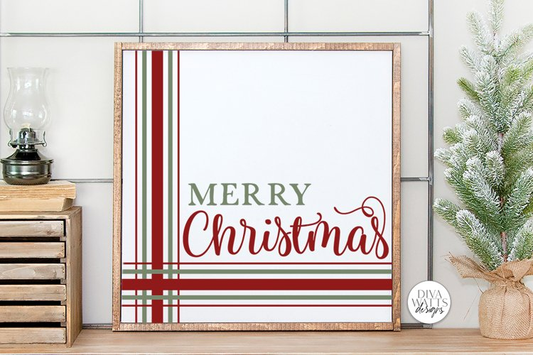 Merry Christmas Plaid SVG | Farmhouse Design example image 1