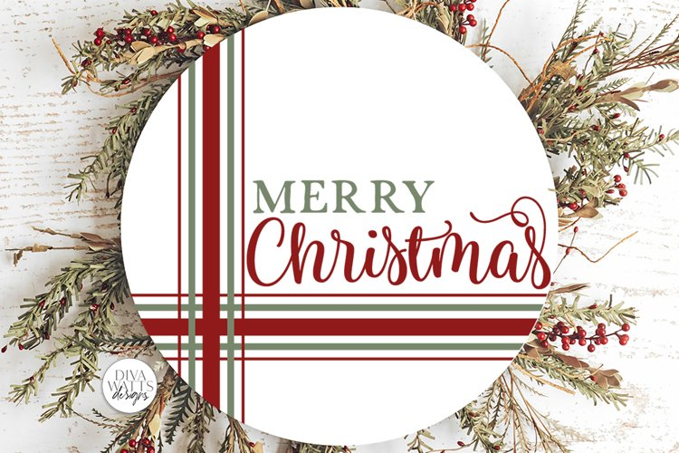 Merry Christmas Plaid SVG   Farmhouse Round Design example image 1