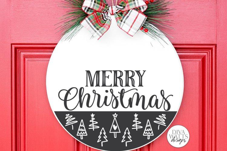 Merry Christmas SVG   Tree Pattern Door Hanger Design example image 1