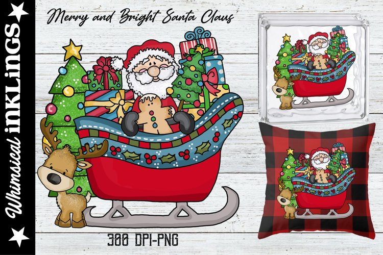 Merry And Bright Santa Claus Sublimation Clipart example image 1