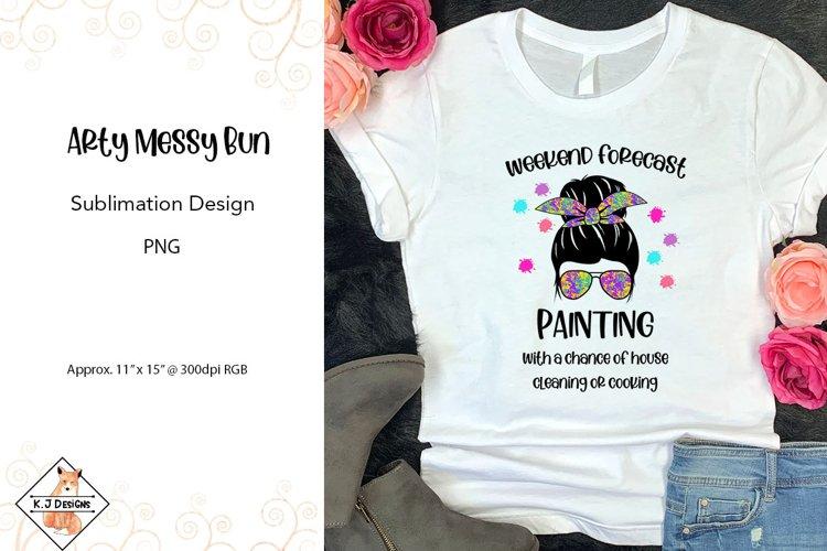 Messy Bun Paint Splashes Sublimation Design