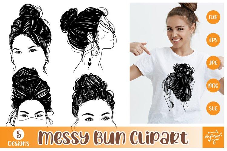 Messy Bun Hair Clipart Bundle, Messy Bun SVG, Messy Hair SVG