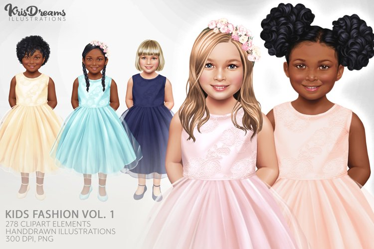 Little Girls Clipart, Kids Clipart, Children Clipart, Family