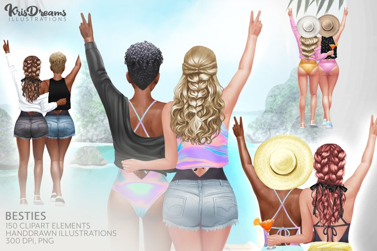 Best Friends Clipart, Fashion Girl Clipart, Natural Hair Cli