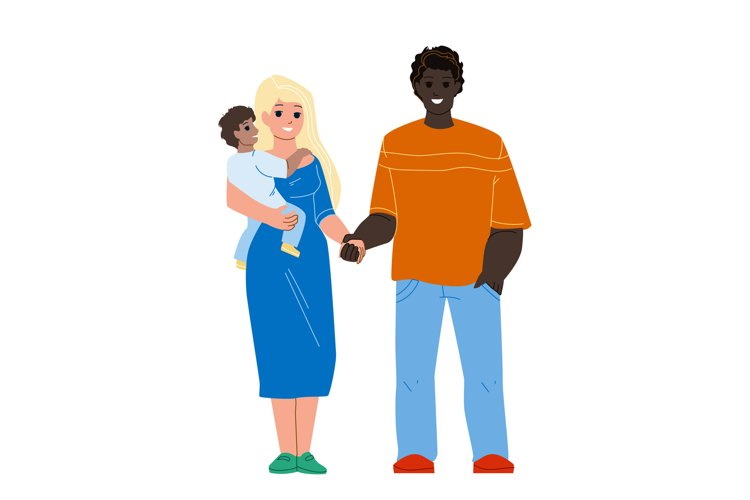 Happiness Mixed Family Standing Together Vector example image 1