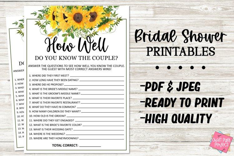 Couples Shower Game, Bridal Shower Printable, Wedding Shower