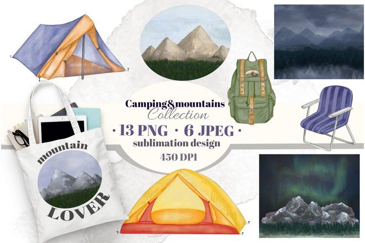 Camping & mountains, landscapes sublimation clip art.