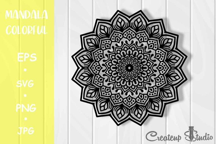 Mandala Black white Flower Design SVG PNG JPG EPS