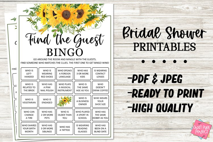 Printable Bridal Shower Game, Find The Guest, Party Game