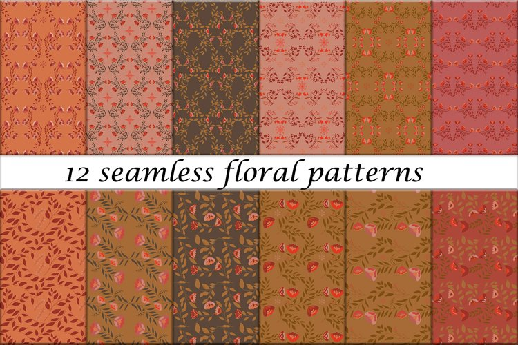 12 Beautiful Seamless Patterns with Flowers