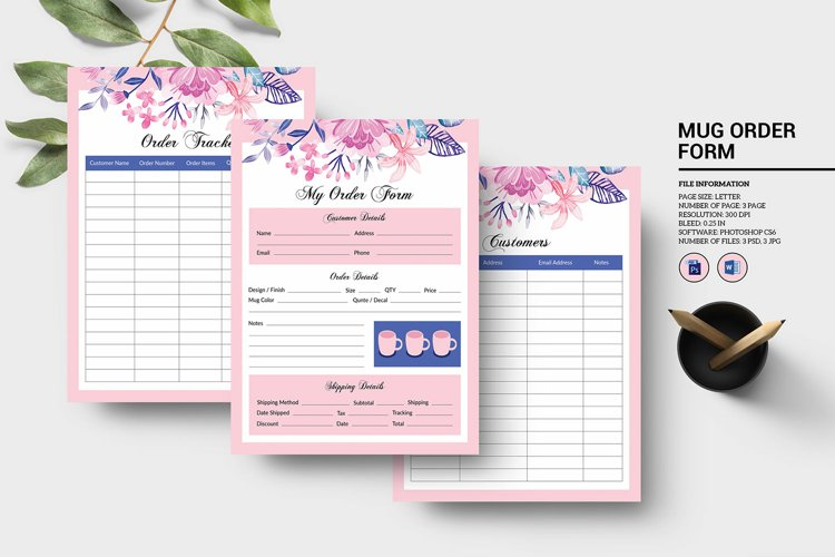 Printable Order Form, Ms word, Psd and JPg