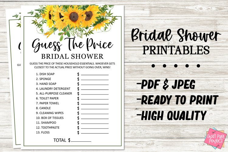 Bridal Shower Game, Guess The Price, Wedding Shower Game