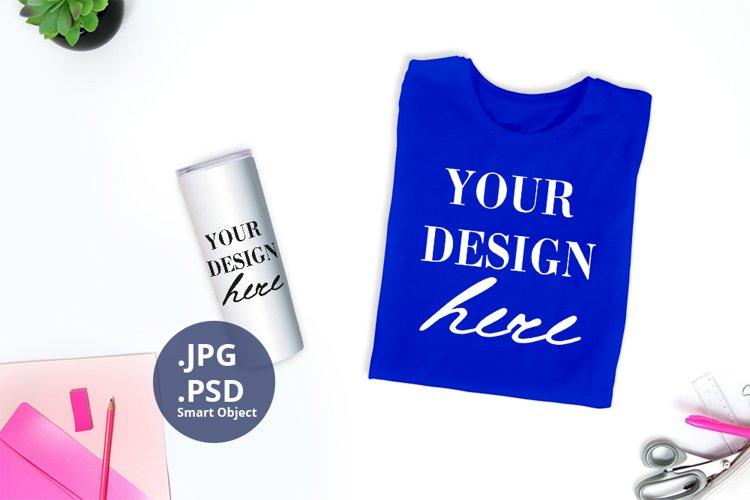 Blue t-shirt & Tumbler Back to school Mockup PSD, JPG & PSD example image 1