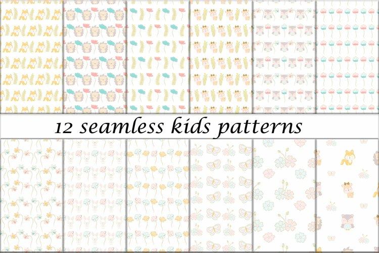 12 Seamless baby patterns with cute animals and flowers