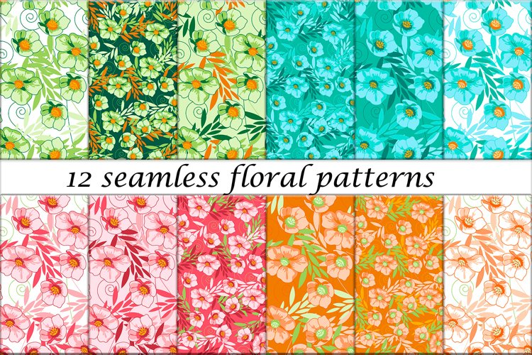 12 Seamless Floral Patterns in vector