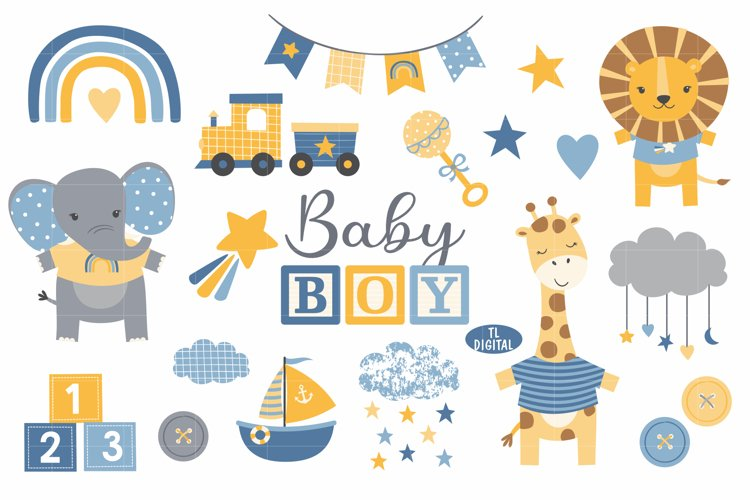 Modern Baby Boy Clipart Set - Blue Yellow Grey - 28 PNG file