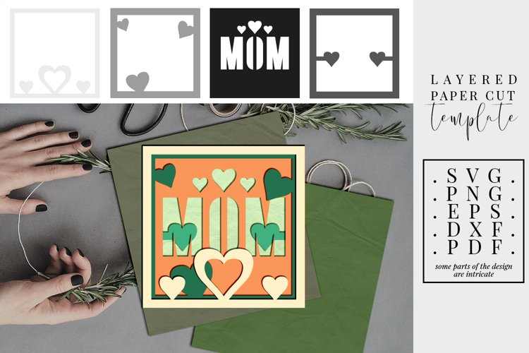 Mom layered paper cut, 3D SVG, gifts for mother dxf, family