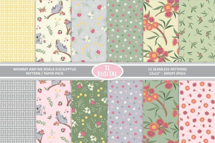 Koala and Eucalyptus Pattern Pack - 12 Seamless Designs
