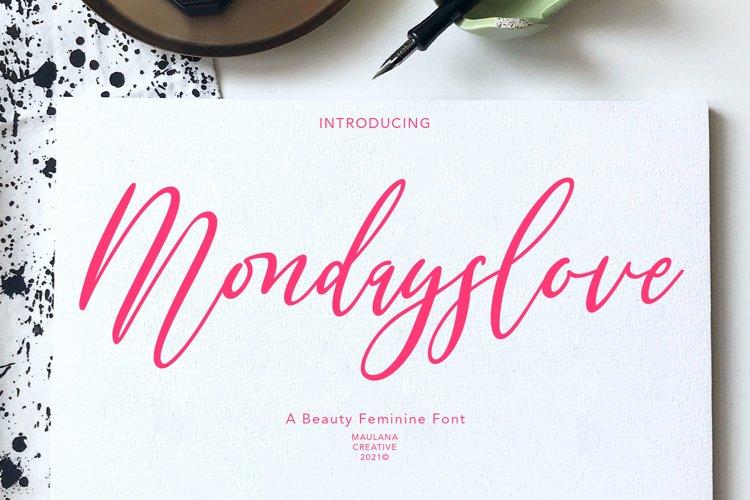 Mondayslove Feminine Signature Font example image 1