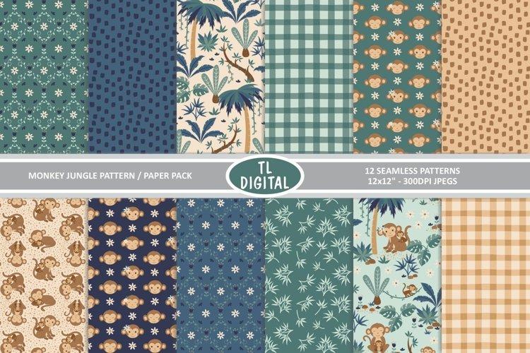 Monkey Jungle Pattern Pack - 12 Seamless Designs